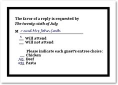 How To Fill Out A Wedding RSVP Card