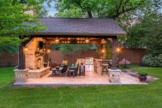 Patio and Outdoor Gazebo Design Ideas It's time to renovate your outdoors and patios with something really seems appealing to eyes. Redesign your outdoor spaces with these exceptional gazebo ideas … Backyard Pavilion, Backyard Gazebo, Backyard Patio Designs, Diy Pergola, Backyard Landscaping, Backyard Ideas, Outdoor Pavilion, Back Yard Patio Ideas, Backyard Barbeque