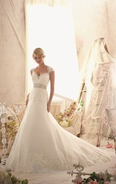 Crystal and lace cap sleeves wedding dress. - Mori Lee 2616