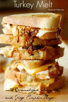 Turkey Melt with Caramelized Onions and Spicy Pumpkin Mayo {An Extraordin-Dairy Adventure I} - Lemons for Lulu