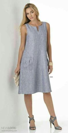 Dress pattern looks good, not necessarily the color. Trendy Dresses, Simple Dresses, Casual Dresses, Fashion Dresses, Dresses For Work, Summer Dresses, Summer Dress Patterns, Linen Dresses, Cotton Dresses