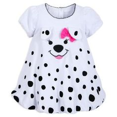 Add a spot of fun to your little one's wardrobe with our 101 Dalmatians Baby Dress! The sweet dress features a bubble hem design, with an embroidered Dalmatian face, ears and a bow. Baby Dress, Dress Up, 101 Dalmatians, Sweet Dress, Baby Disney, Kind Mode, Kids Outfits, Kids Fashion, Girls Dresses