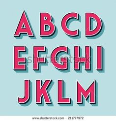 retro vintage style vector relieved alphabet with shadow and stroke