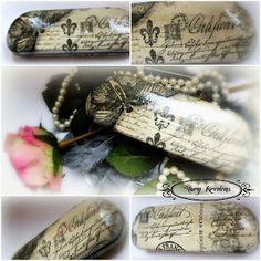 Etui na okulary  szarości , czerń i paryski motyl - Decoupage. Decoupage, Jewlery, Gift Wrapping, Mom, Gifts, Inspiration, Accessories, Gift Wrapping Paper, Biblical Inspiration