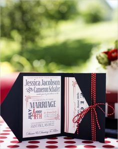 Navy Blue, White And Red Wedding Invitations With Tiny Red And White Ribbon