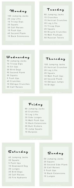 2 week workout idea......http://www.yellowbirdyellowbeard.com/2014/01/weight-loss-pt-2-exercise.html