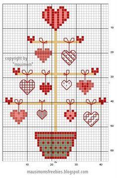 cross stitch free pattern - Love Tree -cute little heart ideas to use in my own pattern Xmas Cross Stitch, Cross Stitch Heart, Cross Stitching, Cross Stitch Embroidery, Embroidery Patterns, Cross Stitch Designs, Cross Stitch Patterns, Cross Stitch Freebies, Christmas Cross