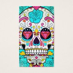 Hipster Sugar Skull and Teal Blue Floral Roses Business Card