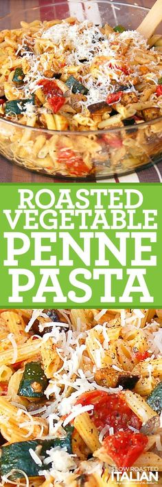 Roasted Vegetable Penne Pasta is the Best Ever Italian Pasta Salad! It is an amazing and simple recipe that is 'knock your socks off' delicious! It starts with slow roasted vegetables and ends with a fresh garlic Parmesan sauce. You're welcome.
