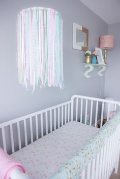 DIY Ribbon Mobile - love that it brings all the colors from the nursery together!