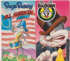 Bugs Bunny-WON THE WEST & All American Hero vhs lot