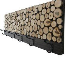 Abstract Wood Wall Art of Ocean Landscape Painting, Modern Rustic Art - Maple Wood Slice Rustic Wood Clothes Rack – Towel Rack - Diy Coat Rack, Rustic Coat Rack, Coat Racks, Coat Storage, Diy Coat Hooks, Wood Coat Hanger, Wall Storage, Storage Rack, Bathroom Storage