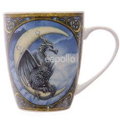 The Wish Dragon Mug has artwork by Lisa Parker. It features one of the rare blue dragons who is happily resting upon a starry crescent moon. Dragon Moon, Blue Dragon, Dragon Bones, Lisa Parker, Mythical Dragons, Dragon Artwork, Dragon Print, Decorative Borders, Dragon Design