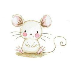 Baby Animal Drawings, Cartoon Drawings, Cute Drawings, Baby Drawing, Painting & Drawing, Maus Illustration, Pet Mice, Cute Mouse, Baby Art
