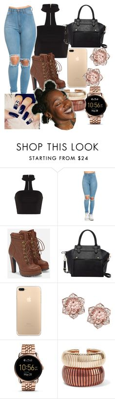 """Untitled #287"" by goddess12 ❤ liked on Polyvore featuring JustFab, Pink Haley, FOSSIL, Rosantica and Bantu"