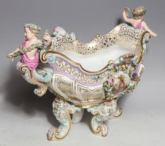 Old Meissen Porcelain | Palatial Antique German Meissen Porcelain Figural Centerpiece image ...