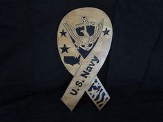 """Military ribbon..for the navy veteran in your family. Made from 2 pcs 1/8"""" birch. Has a natural stain & lacquer finish. you can find my shop @ etsy, DavesSawdustFactory. Thank you"""