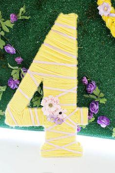 "Tangled-inspired yarn braid ""4"" from a Rapunzel Birthday Party on Kara's Party Ideas   KarasPartyIdeas.com (18)"