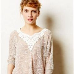 Sale Anthropologie loose fit top Anthropologie loose fit top in Tan and cream embroidery. It's a very light weight airy feel knees looks like linen kind of weave and feels super soft. Made of 51% polyester and 49% Rayon.size is L but might fit an XL as well since it's a loose fit. Like new, barely worn. Anthropologie Tops Blouses