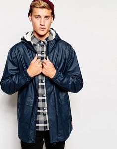 """Jacket by Bellfield Smooth, shower-proof fabric Borg lining Adjustable hood Concealed zip fastening Press stud placket Functional pockets Stretch cuffs Regular fit - true to size Machine wash 80% Polyvinylchloride, 20% Polyurethane Our model wears a size Medium and is 185.5cm/6'1"""" tall"""