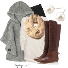 """""""Hooded Poncho & Leggings"""" by taytay-268 on Polyvore"""