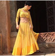 Waist Skirt, High Waisted Skirt, Yellow Saree, Lehenga, Sarees, Sexy Blouse, Half Saree, Indian Wear, Indian Outfits