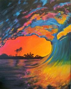 Original Acrylic Painting Pink Wave
