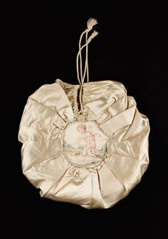 Early 19th century.  French but used in America.  silk satin with painted medallions. Bag   Museum of Fine Arts, Boston