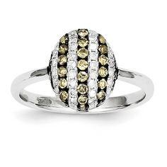 14k White Gold White & Champagne Diamond Oval Ring