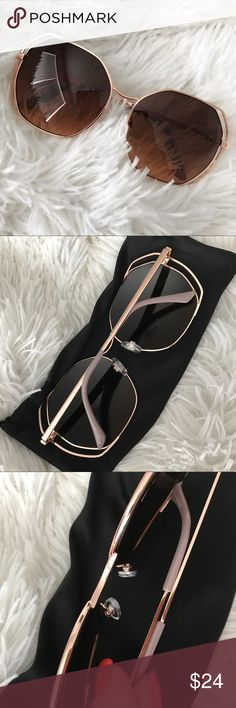 NEW | DOUBLE WIRE RIM GEO SUNNGLASS | ROSE GOLD NEW NEVER USED & ON TREND ✨  GORGEOUS GOLD double wire sunglasses with ROSE GOLD lenses. 😍 Soft cleaning case is included with your purchase. I personally own, wear & LOVE these! GORGEOUS QUALITY YOU CAN SEE AND FEEL.   100% UV protection   Ships SECURELY same or next day from my smoke free home.   Priced firm. Bundle items to save. ✨  Not CHLOE brand. Listed for exposure. Chloe Accessories Sunglasses