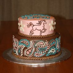 Western Birthday Party Cakes | Party Cakes: 2-Tier Western Horse Cake