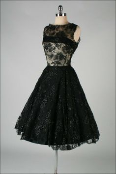 1950's Harvey Berin Black Chantilly Lace Cocktail Dress | the Vintage Fashion Collectionary