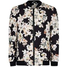 Black Watercolour Floral Print Formal Bomber Jacket ($84) ❤ liked on Polyvore featuring outerwear, jackets, flower print jacket, flight jacket, floral jackets, formal jackets and floral bomber jacket