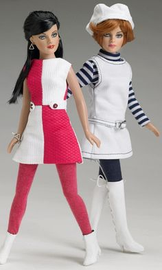 """Manufacturer's catalog image of 10"""" vinyl Checker Groove Kitty Collier basic dolls wearing separate Kitty A Go-Go and Mod Togs outfits, made in an edition of 1,000 pieces (each), United States, 2006, by Robert Tonner."""