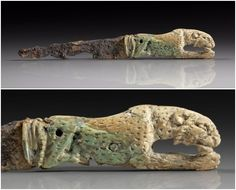 Roman Iron Folding Knife with Carved Bone Panther Handle, 2nd-3rd Century AD