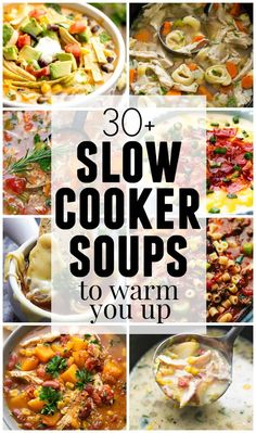 Slow Cooker Soups to Warm You Up Hey it's Tiffany from Creme de la Crumb back to share an incredible lineup of slow cooker soups to keep y. Slow Cooker Huhn, Crock Pot Slow Cooker, Slow Cooker Recipes, Cooking Recipes, Soup Recipes, Cooking Ideas, Free Recipes, Slow Cooking, Recipes