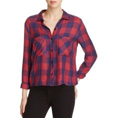 Rails Button-Down Plaid Shirt ($148) ❤ liked on Polyvore featuring tops, tartan shirt, button-down shirt, plaid crop top, purple crop top and button up crop top