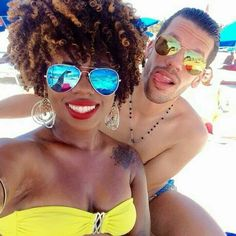 Beautiful interracial couple having fun in the sun at the beach #love #wmbw #bwwm