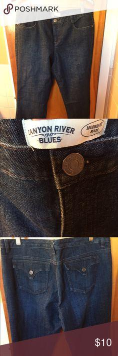 Canyon River Blues jeans. Size 16. Dark blue. Canyon River Blues jeans. Ladies size 16. Dark blue denim. Never worn. 30 inch inseam. Canyon River Blues Jeans Boot Cut