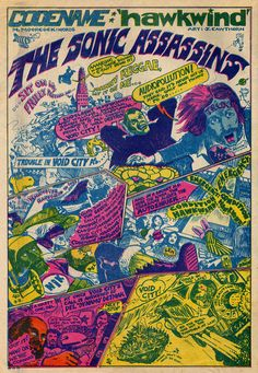 Writer Michael Moorcock and artist Jim Cawthorn created this two-page 1971 comic portraying the rock band Hawkwind as musical superheroes.