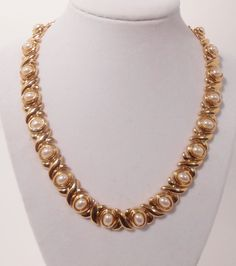 AFJ Faux Pearl XO Love Necklace Circa 1980's American Fashion Jewelry