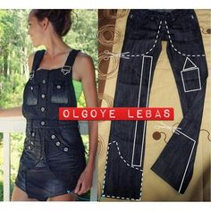 Refashion your jeans to beautiful overall