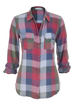 plaid button down sh