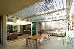 Vergola operable louvre roof system by Vergola - Selector Australia Outdoor Areas, Outdoor Rooms, Outdoor Living, Outdoor Decor, Pergola With Roof, Patio Roof, Backyard Patio, Outdoor Pavillion, Retractable Pergola