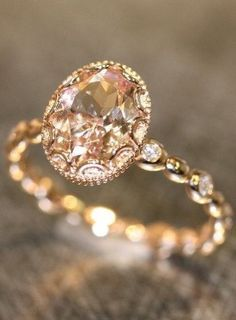 Gorgeous! Floral Morganite Engagement Ring in 14k Rose Gold by LaMoreDesign