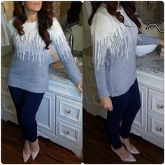 """Grey & Ivory sweater Super warm and cozy sweater. Beautiful design. Great and Ivory. 26"""" long. Heavy weight. 60% acrylic 40% nylon.  SMALL: 18"""" pit to pit. MEDIUM: 19"""" pit to pit. LARGE: 20"""" pit to pit. XLARGE: 21"""" pit to pit.  ✨Please read entire description✨ ✨Please ask any questions prior to purchasing✨ ✨ Discounts On Bundles ✨ CupofTea Sweaters Crew & Scoop Necks"""