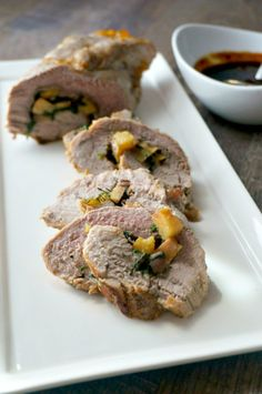 Pork Roulade with Spicy Apricot Glaze: Tender pork tenderloin ...
