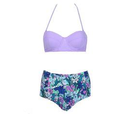 Choies Women's Nylon Push Up Bikini Top and Floral High Waist Bottom High Rise Bikini, Push Up Bikini Tops, Push Up Swimsuit, Swimsuit Tops, Bikini Swimsuit, Purple Bathing Suit, Purple Bikini, Floral Bikini, Bathing Suits