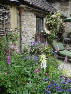 courtyard view of English cottage Castle Combe, England