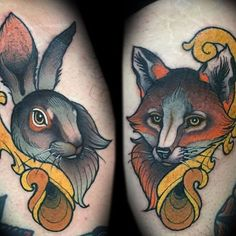Neotraditional Hare & Fox Tattoo by Myra Brodsky of Germany | Photo taken by @spinsterette on Instagram, pinned via the InstaPin iOS App! http://www.instapinapp.com (08/10/2015)